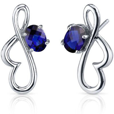 Oravo Rhythmic Curves 2.00 Carats Blue Sapphire Oval Cut Earrings in Sterling Silver