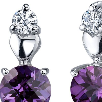 Gleaming Heart 2.50 Carats Alexandrite Round Cut Cubic Zirconia Earrings in Sterling Silver