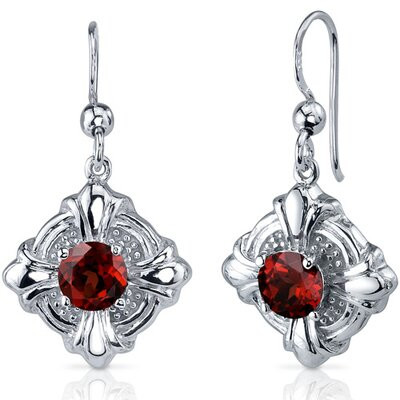 Victorian Style 2.00 Carats Garnet Round Cut Dangle Cubic Zirconia Earrings in Sterling Silver