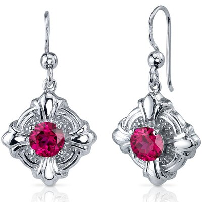 Victorian Style 2.50 Carats Ruby Round Cut Dangle Cubic Zirconia Earrings in Sterling Silver