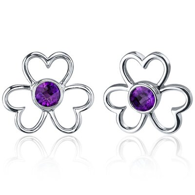Floral Heart Design 1.00 Carat Amethyst Round Cut Earrings in Sterling Silver