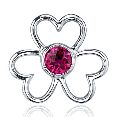 Oravo Floral Heart Design 1.50 Carats Ruby Round Cut Earrings in Sterling Silver
