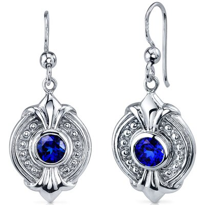 Ornate 1.50 Carats Blue Sapphire Round Cut Dangle Earrings in Sterling Silver