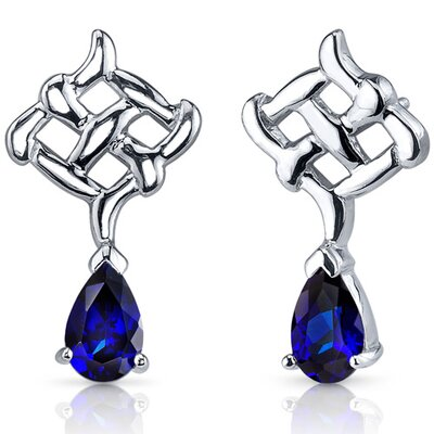 Oravo Ornate Exuberance 2.00 Carats Blue Sapphire Pear Shape Earrings in Sterling Silver