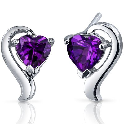 Oravo Cupids Harmony Gemstone Heart Shape Earrings in Sterling Silver