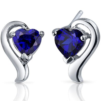 Cupids Harmony 2.00 Carats Blue Sapphire Heart Shape Earrings in Sterling Silver