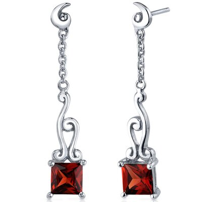 Lucid Spiral Design 2.50 Carats Garnet Princess Cut Dangle Earrings in Sterling Silver