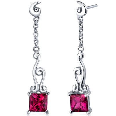 Lucid Spiral Design 3.00 Carats Ruby Princess Cut Dangle Earrings in Sterling Silver