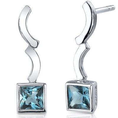 Modern Curves 1.50 Carats London Blue Topaz Princess Cut Earrings in Sterling Silver