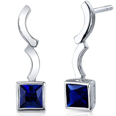 Modern Curves 1.50 Carats Blue Sapphire Princess Cut Earrings in Sterling Silver
