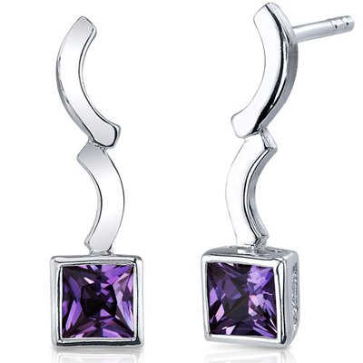 Modern Curves 1.50 Carats Alexandrite Princess Cut Earrings in Sterling Silver