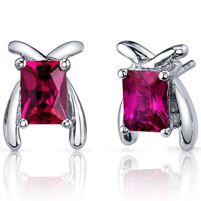 Striking Color 2.50 Carats Ruby Radiant Cut Earrings in Sterling Silver