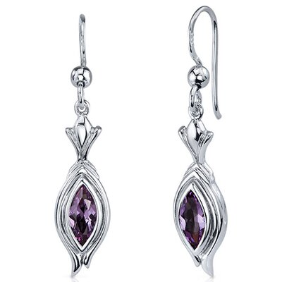 Dynamic Dangle 1.50 Carats Alexandrite Marquise Cut Earrings in Sterling Silver