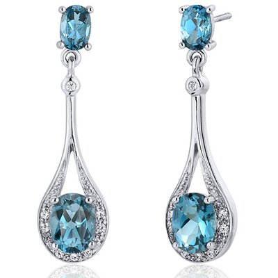 Glamorous 4.00 carats London Blue Topaz Oval Cut Dangle Diamond CZ Earrings in Sterling Silver ...