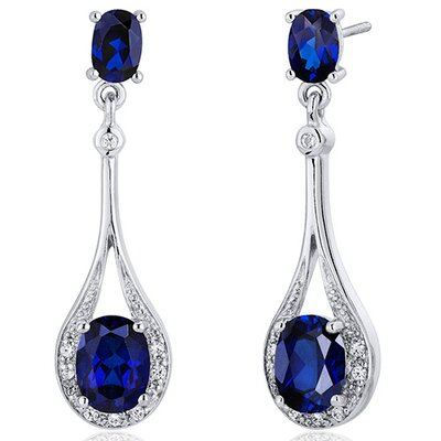 Glamorous 5.00 Carats Blue Sapphire Oval Cut Dangle Diamond CZ Earrings in Sterling Silver