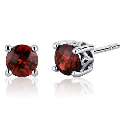 Oravo Scroll Design 2.00 Carats Garnet Round Cut Stud Earrings in Sterling Silver