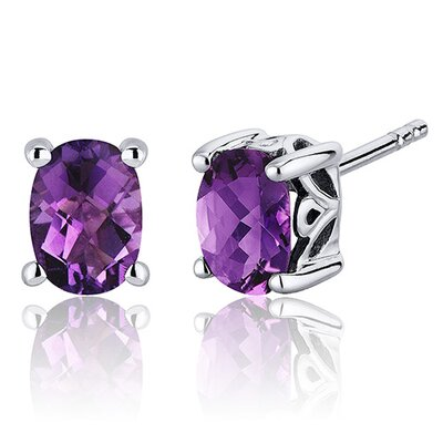 Oravo Basket Style Gemstone Oval Cut Stud Earrings in Sterling Silver