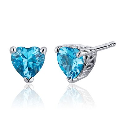 2.00 Carats Swiss Blue Topaz Heart Shape Stud Earrings in Sterling Silver