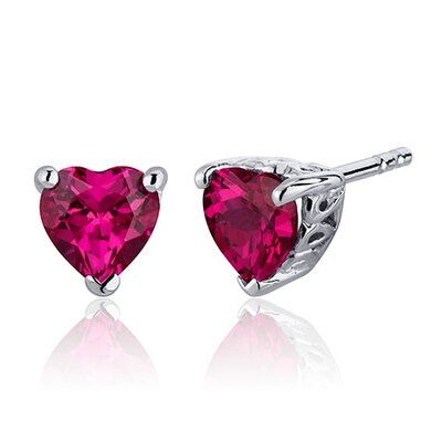 2.00 Carats Ruby Heart Shape Stud Earrings in Sterling Silver