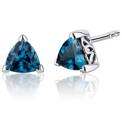 1.50 Carats London Blue Topaz Trillion Cut V Prong Stud Earrings in Sterling Silver