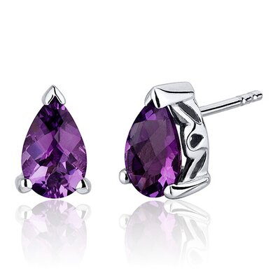 Gemstone Pear Shape Basket Style Stud Earrings in Sterling Silver