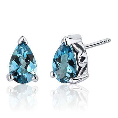 1.50 Carats London Blue Topaz Pear Shape Basket Style Stud Earrings in Sterling Silver