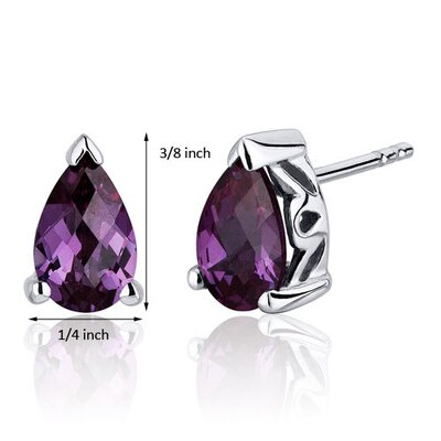 Oravo 2.00 Carats Alexandrite Pear Shape Basket Style Stud Earrings in Sterling Silver