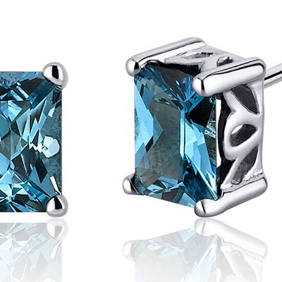 Oravo Radiant Cut 2.00 Carats London Blue Topaz Stud Earrings in Sterling Silver