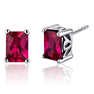 Radiant Cut 2.50 Carats Ruby Stud Earrings in Sterling Silver