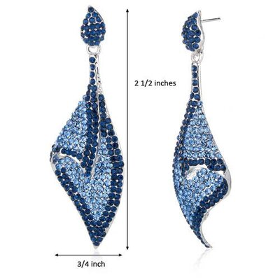 Oravo Glistening Shell Design Montana Blue Dangle Earrings with Swarovski Elements