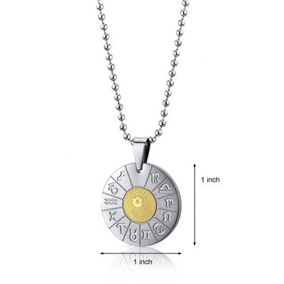 Oravo Aquarius Water Bearer Sign Zodiac Symbol Stainless Steel Circle Pendant Necklace