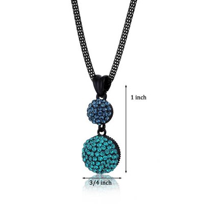Oravo Double Disco Ball Montana and Blue Zircon Swarovski Crystal Pendant Necklace