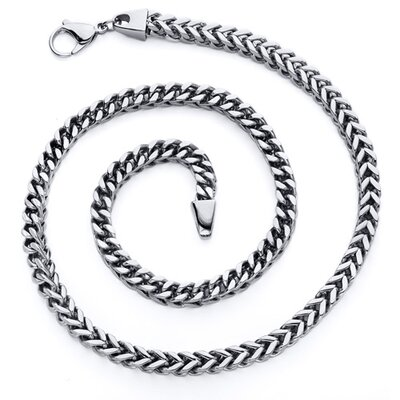 Men's 22 inch Four Sided Stainless Steel Wheat Chain Necklace