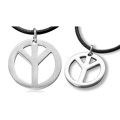 Oravo Surgical Steel Peace Pendant with Black Leather Cord for Young Adults