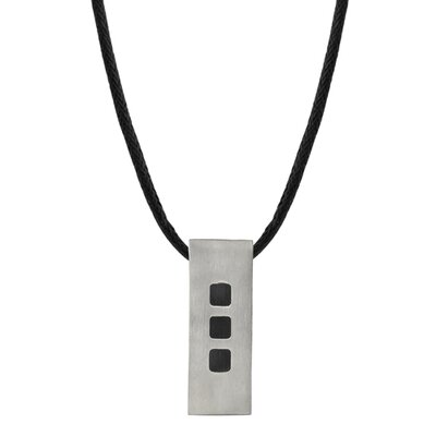 Oravo Strong and Sporty Designer Inspired Rectangular Titanium Tag Pendant with Black Rubber Squares on a Black Cord for Men