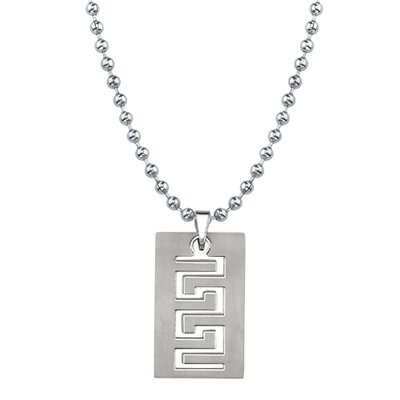 Oravo Strong and Distinctive Titanium Brushed Finish Greek Key Dog Tag Pendant for Men on a Stainless Steel Ball Chain