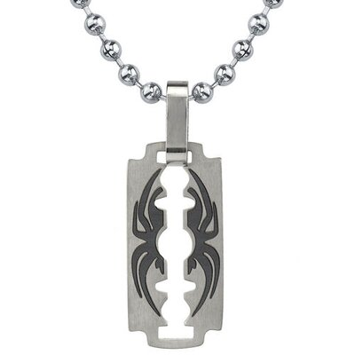 Oravo Dangerous Sophistication Titanium Brushed-finish Razor Blade with Black Spider Pendant on a Steel Ball Chain for Men