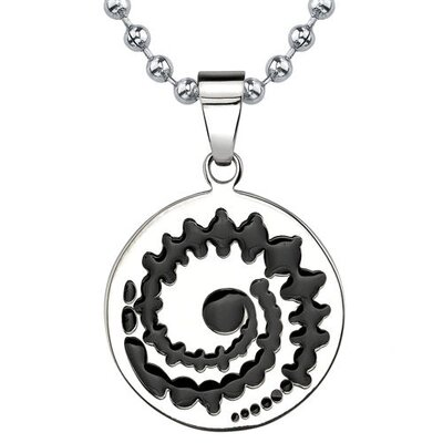 Exclusive Fashion Designer Inspired Titanium Crop-Circle Black Enamel Pendant for Men on a ...