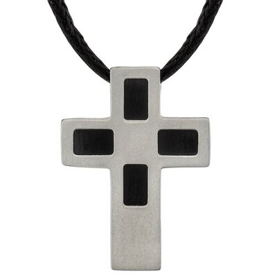 Modern Faith Designer Inspired Titanium Brushed Finish and Black Rubber-inlay Cross Pendant on ...