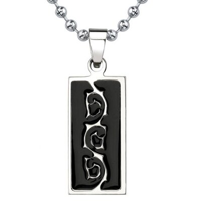 Natural Beauty Titanium & Black Enamel Tribal-style Tattoo Pattern Dog Tag Pendant on a ...