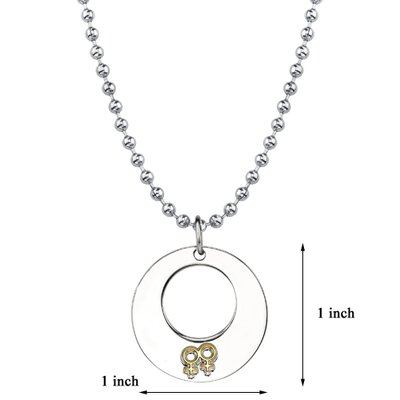 Oravo Touch of Elegance Surgical Stainless Steel Gunmetal Circle Pendant with Double Female Insignias on a Steel Ball Chain