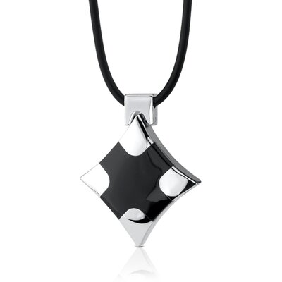 Modern Cross Designer Inspired Surgical Steel High Polished Finish Black Enamel Cross Pendant ...