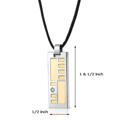 Oravo Stainless Steel Two tone Solitaire CZ Fancy Dog Tag Pendant with Adjustable Black Cord