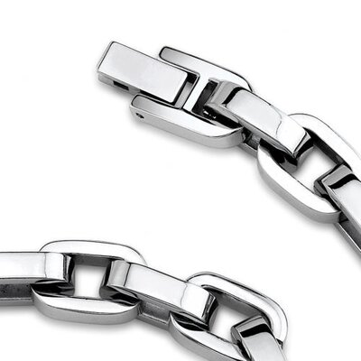 Oravo Thick and Heavy Mens Stainless Steel Link Necklace