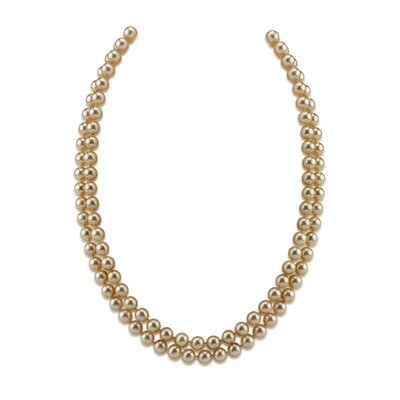 Oravo Double Strand 7 to 9 mm Off White Round Majorca Cultured Pearl 19 inch Necklace