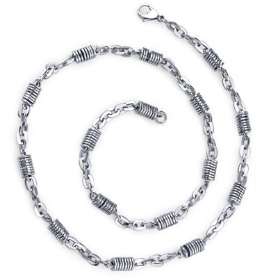 Vibrant Style Mens Unique Stainless Steel Silver-tone Coiled Link 20 Inch Chain Necklace