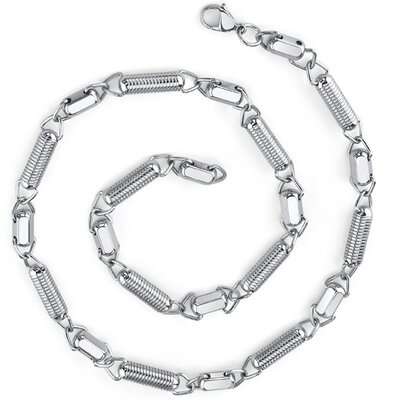 Manly Chic Stainless Steel Unique Coiled Link Chain Necklace for Men