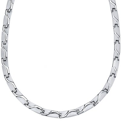 Rugged Appeal Titanium Mens Wave Pattern Flat Link 20 inch Chain Necklace