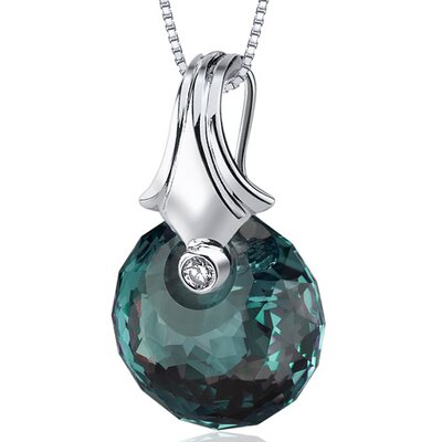 Oravo Spherical Cut 22.00 Carat Alexandrite Necklace in Sterling Silver