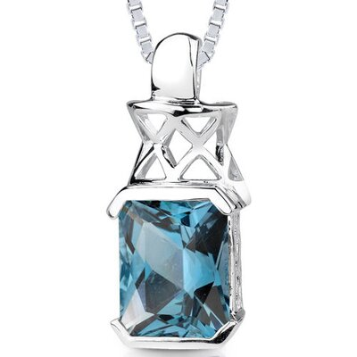5.00 cts Radiant Cut London Blue Topaz Pendant in Sterling Silver